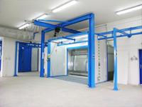 Spray booths with open front section - with wet filtration system